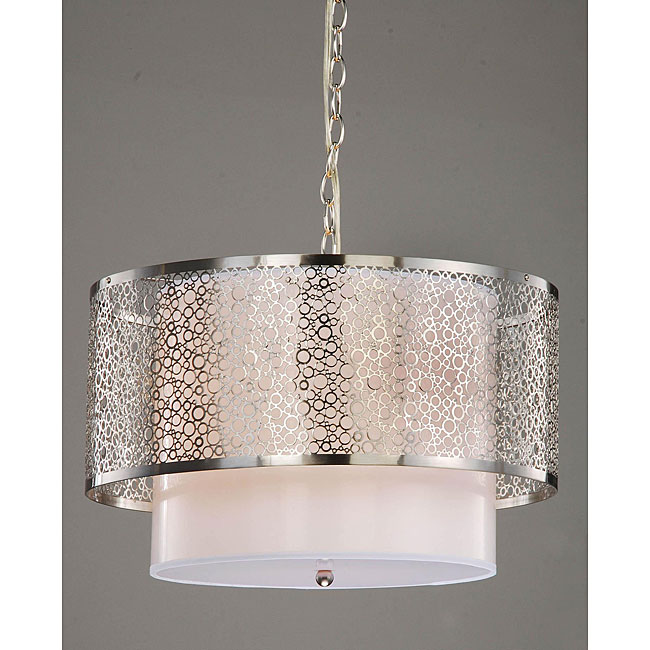 3-light Contemporary White Shade Satin Nickel Chandelier - KP406