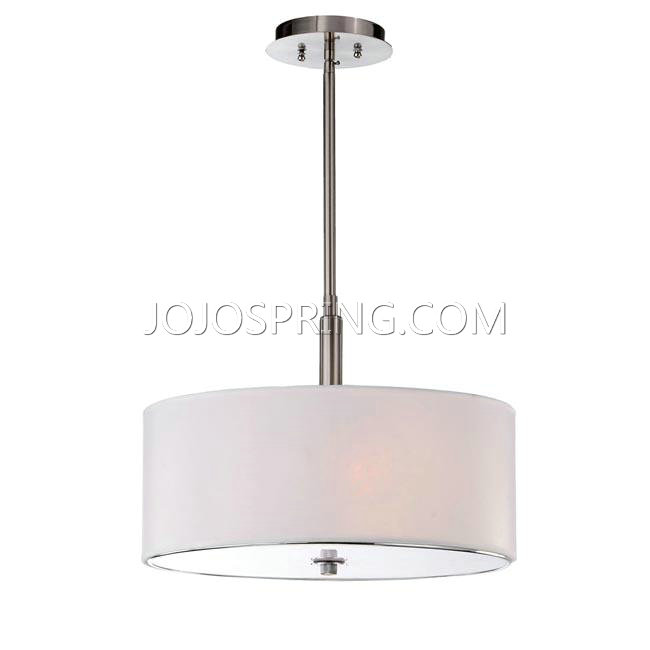 3-light Off-white Shade Satin Nickel Chandelier - B595-CPW-259