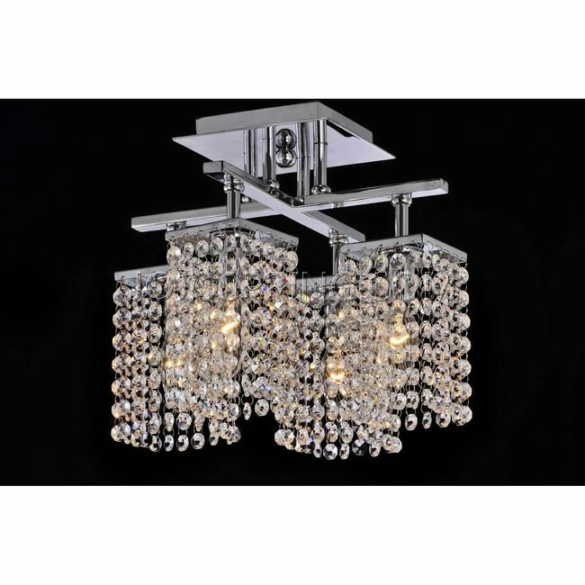4-light Chrome and Crystal Ceiling Chandelier - L825-MG-385