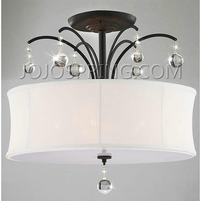 indoor light antique bronze white shade flush mount chandelier, Lighting ideas