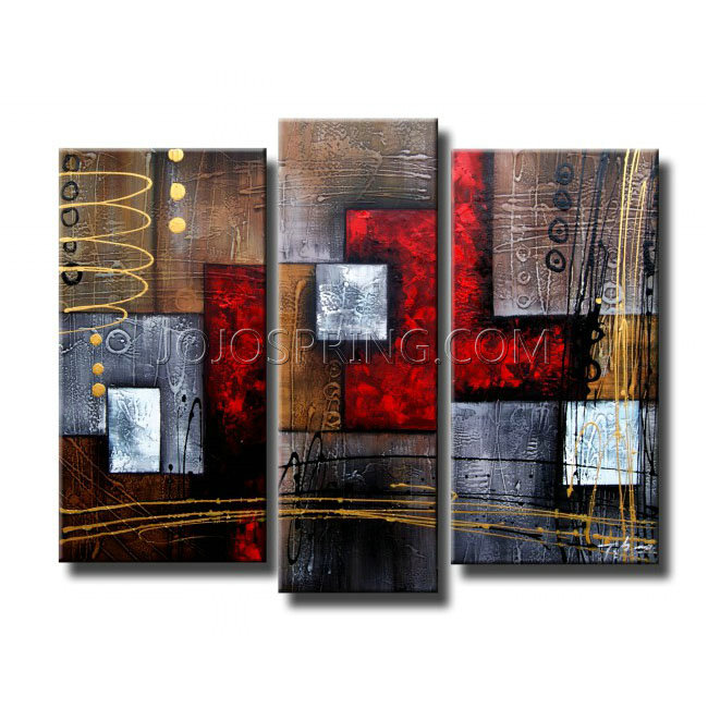 Abstract 407 3-piece Gallery-wrapped Hand Painted Canvas Art Set