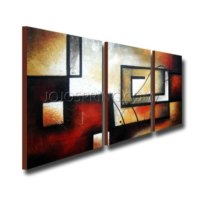 Abstract 418 3-piece Gallery-wrapped Hand Painted Canvas Art Set