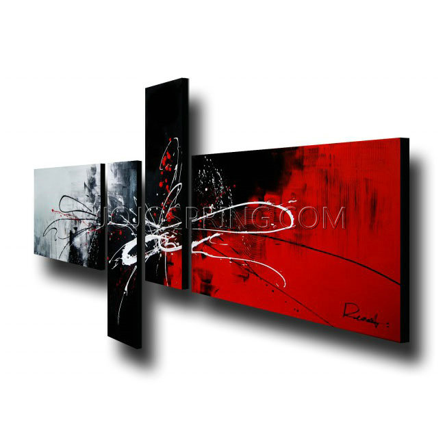Abstract 435 4-piece Gallery-wrapped Hand Painted Canvas Art Set