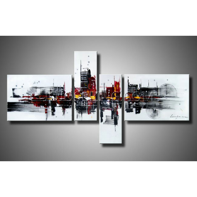 Abstract 454 Hand-painted 4-piece Gallery-wrapped Canvas Art Set
