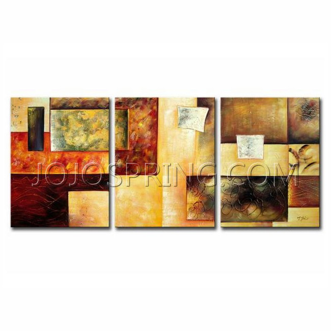 Abstract Multicolor' Hand-painted 3-piece Oil Painting Set