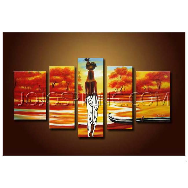 African Scene' Hand-painted Oil on Canvas Art