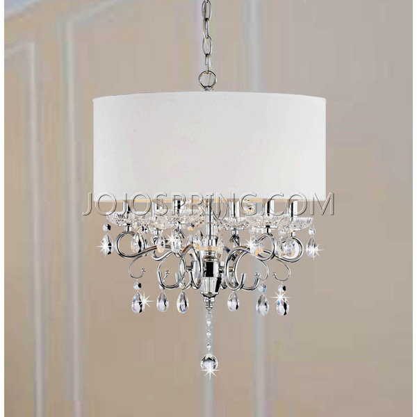 Allured Crystal Chandelier Solid White Shade - L937-HO-441