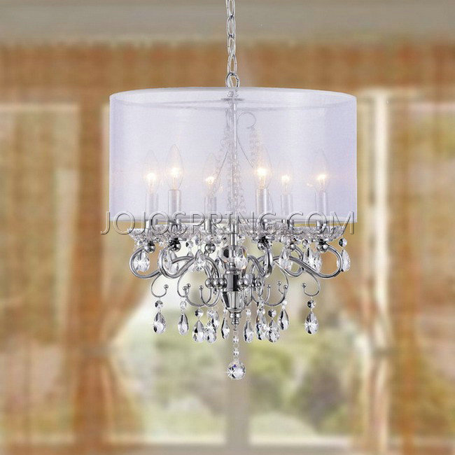 Allured Crystal Chandelier with White Fabric Shade - L881-RT-413
