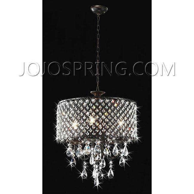Antique Black 4 Light Round Crystal Chandelier Bpe 55bk