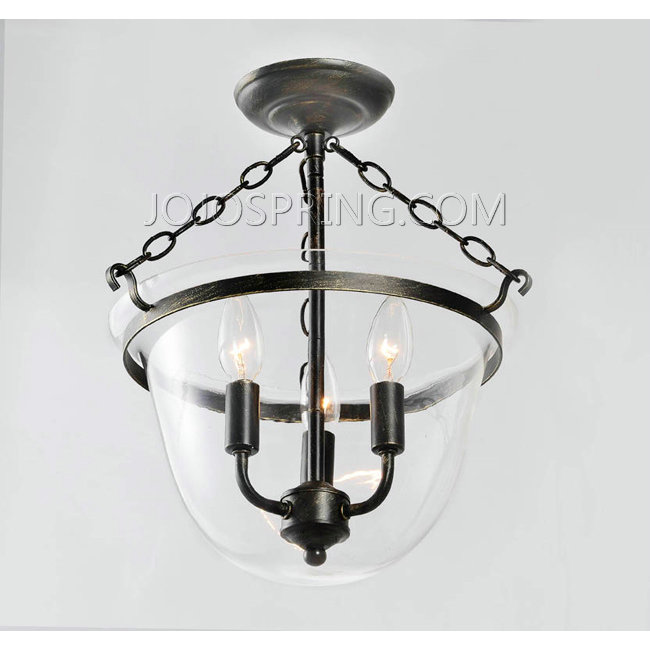 Antique Copper Finish Glass Lantern Flushmount Chandelier - L835