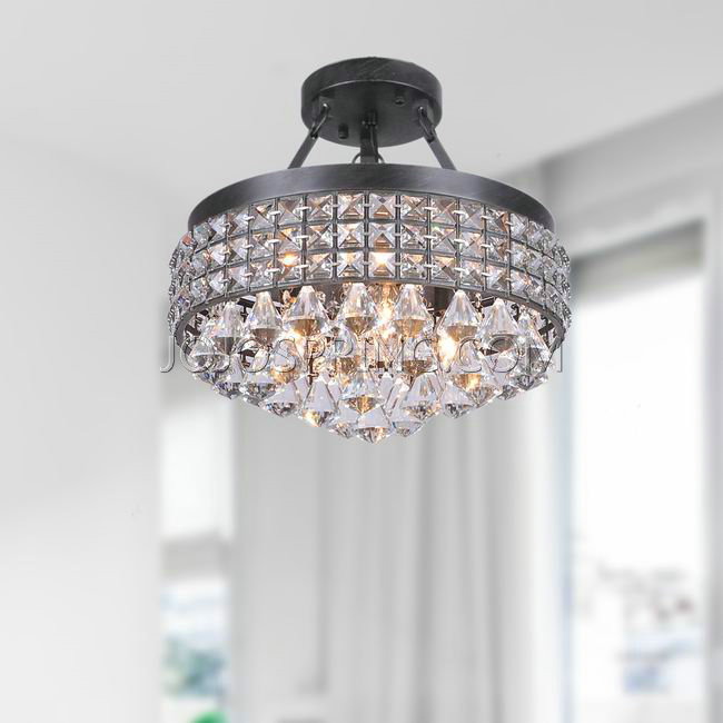 Antonia 4-light Crystal Semi-flush Mount Chandelier with Antique
