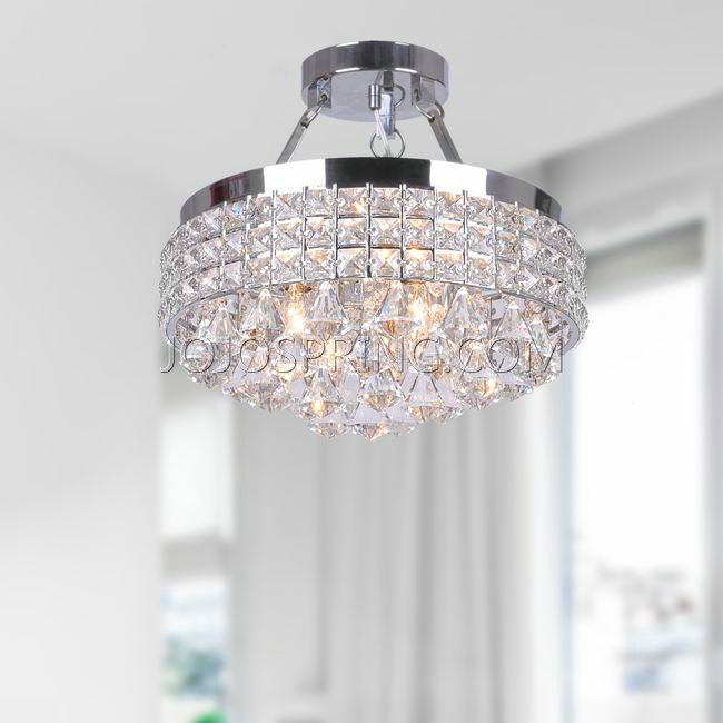 antonia 4light crystal semiflush mount chandelier with chrome - Semi Flush Mount Lighting