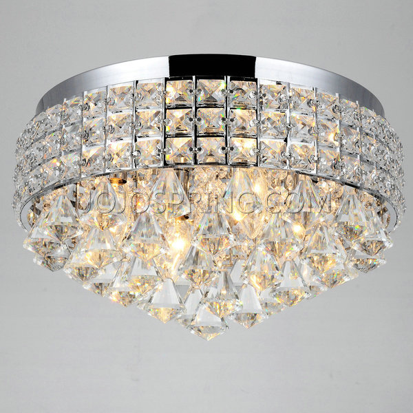 Antonia Ornate Crystal Flush Mount Chandelier in Chrome