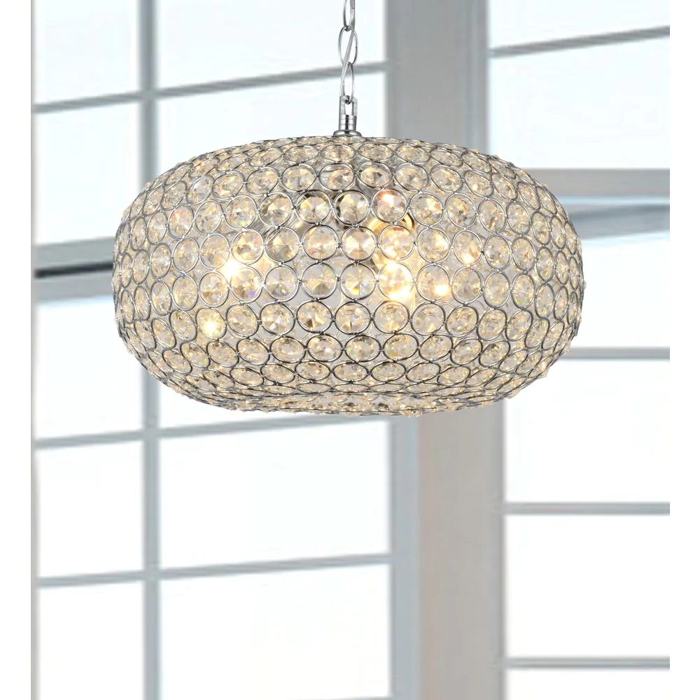 Oval-shaped Crystal and Chrome Chandelier B095-VL-520