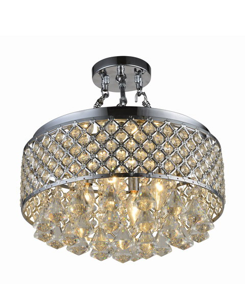 Chrome Round Shade Crystal Semi Flush Mount B123-VR-533