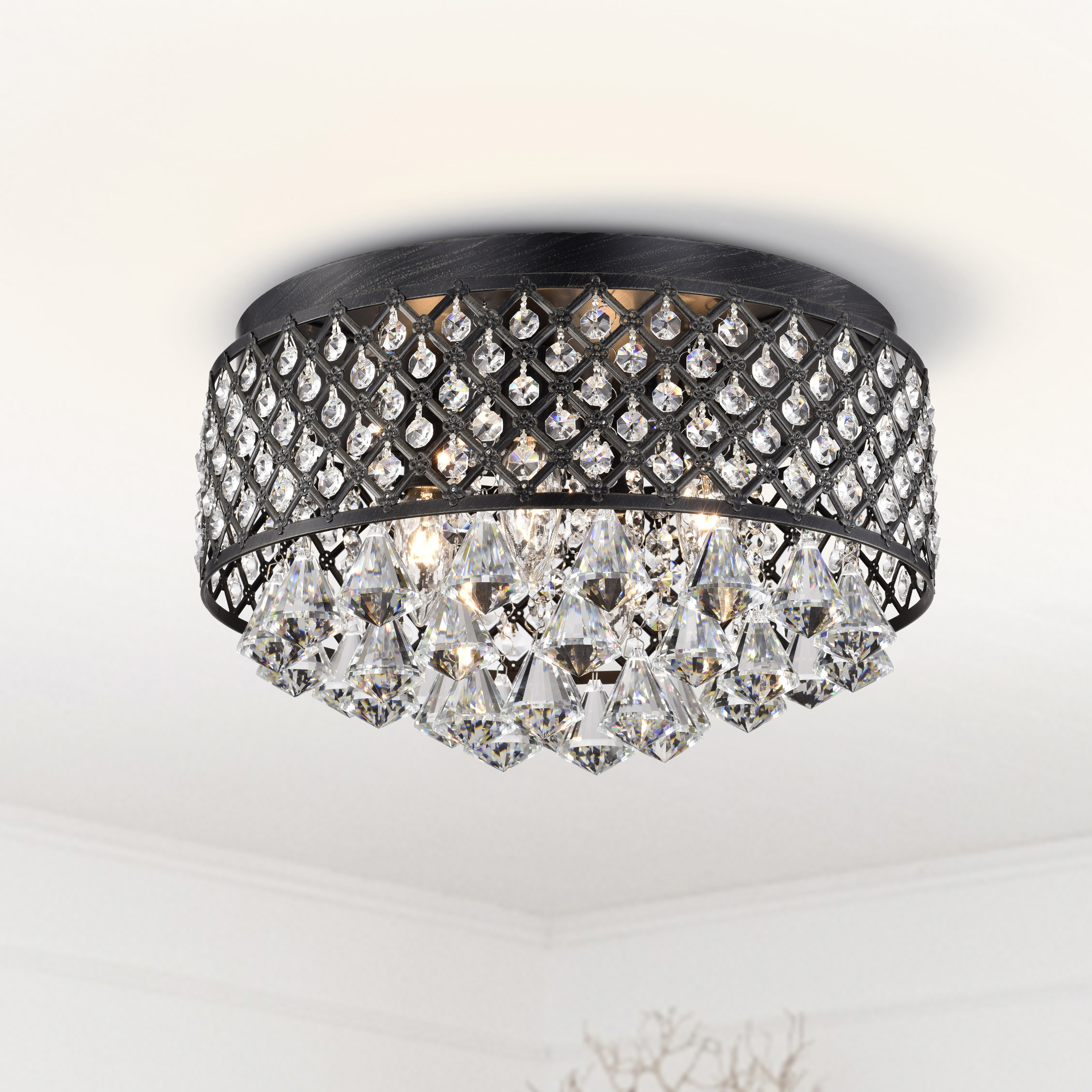 Candice 4-light Antique Black Flush Mount Chandelier B129-GA-536