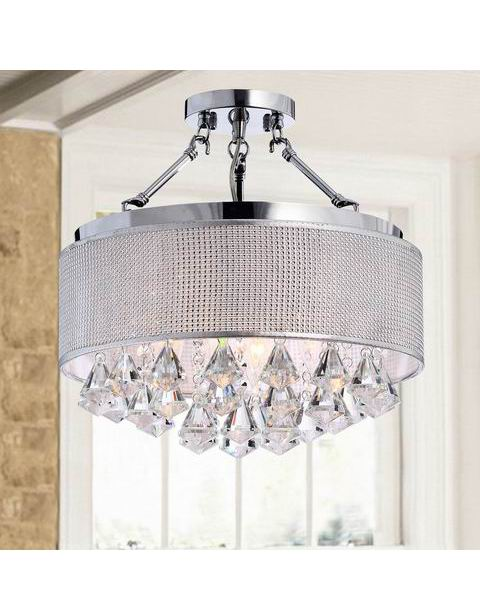 Rhinestone Drum Shade Chrome Semi-Flush Mount B189-YO-564