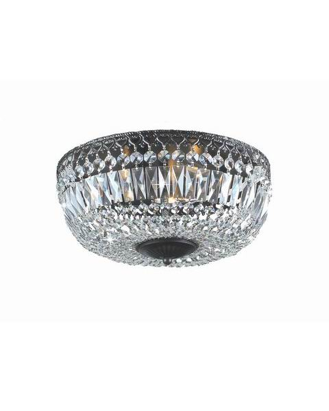Emilia 12-inch Antique Black Crystal Flush Mount Chandelier B209-XI-574