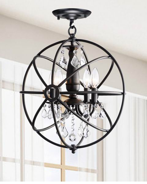 Benita Antique Black 4-Light Iron Orb Flush Mount Crystal Chandelier B215-TQ-577