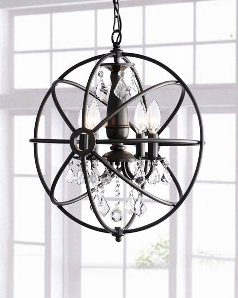 Benita Antique Black 4-light Iron Orb Crystal Chandelier B217-GZ-578