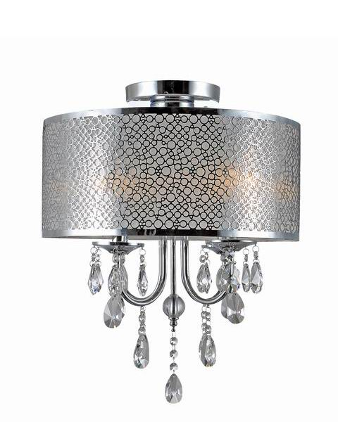Chrome Metal Drum Shade Crystal Ceiling Flush Mount B219-YA-579