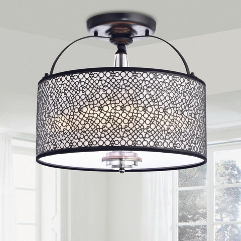 Metal Drum Shade Flush Mount Chandelier B259-BI-599