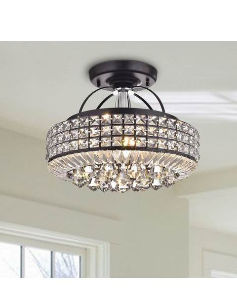 Jolie Antique Black Drum Shade Crystal Semi Flush Mount Chandeli