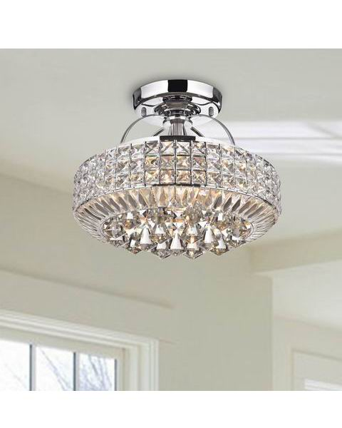 Jolie Chrome Drum Shade Crystal Semi Flush Mount Chandelier B315-QI-627