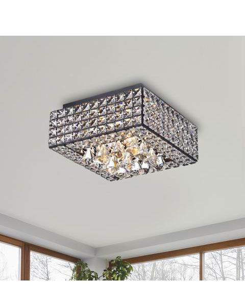 Gisela Modern Square Crystal Flush Mount Chandelier in Antique B