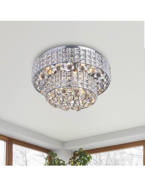 Jolie Chrome Two Tier Crystal Shades Flush Mount Chandelier B323