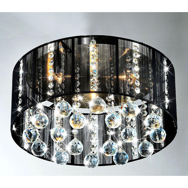 Buy cheap flush mount light flush ceiling light flush mount black shade 5 light satin nickel and clear crystal ceiling lamp aloadofball Gallery