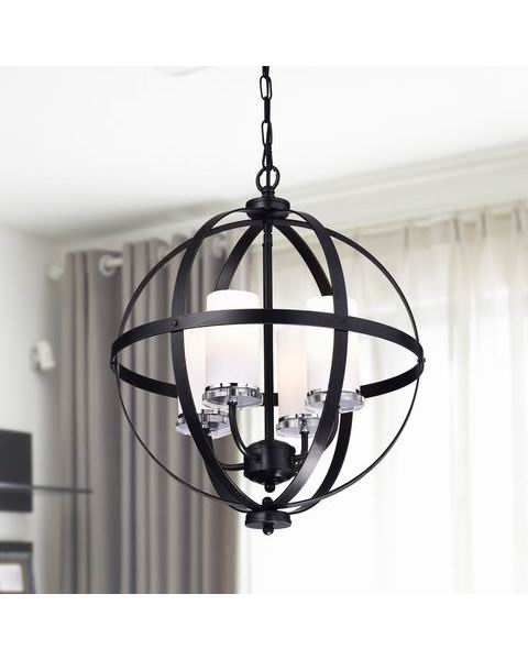 Benita Antique Black Iron Orb Chandelier with Glass Globe B411-IG-675