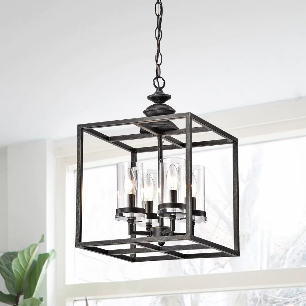 La Pedriza 4-Light Antique Black Lantern Chandelier with Clear Glass Cylinders B413-WQ-676