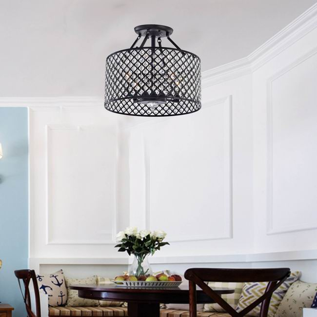 Antique Black 4-light Round Crystal Ceiling Chandelier - B809-SO-377