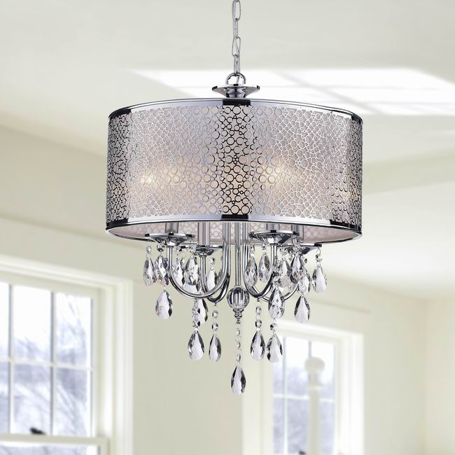 Indoor 4-light Chrome/ Crystal/ White Shades Chandelier - BCP-017-CL4