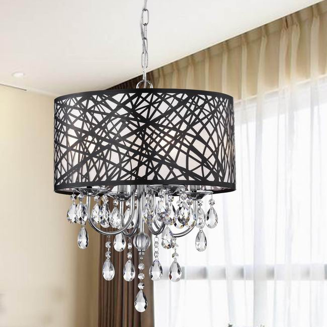 Indoor 4-light Chrome Antique Black Chandelier - BCS-039-4AB