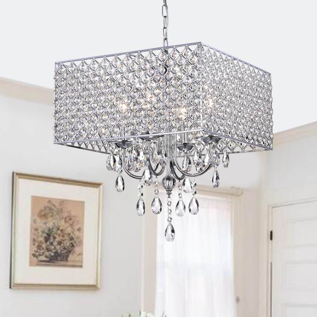 Chrome/ Crystal 4-light Square Chandelier - BFD-68SX