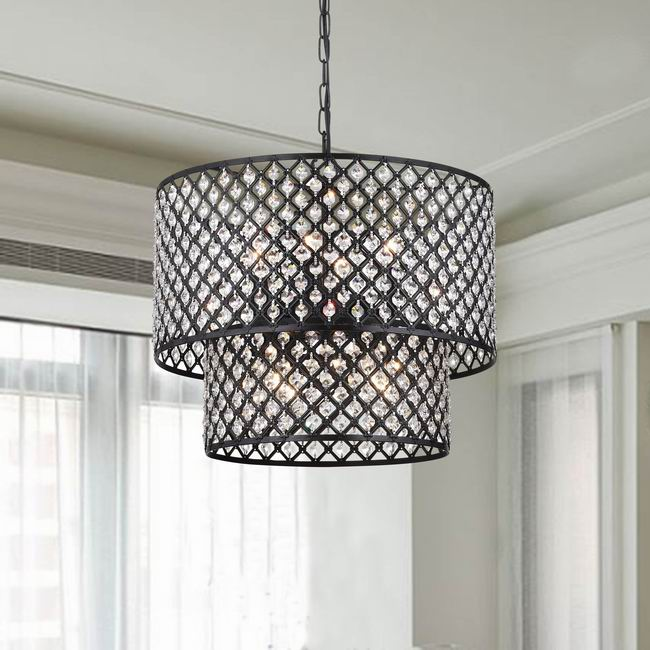 Affordable crystal chandelier modern chandeliercrystal for antique black 8 light double round crystal chandelier aloadofball Image collections