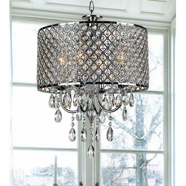 Chrome Finish 4-light Round Crystal Chandelier
