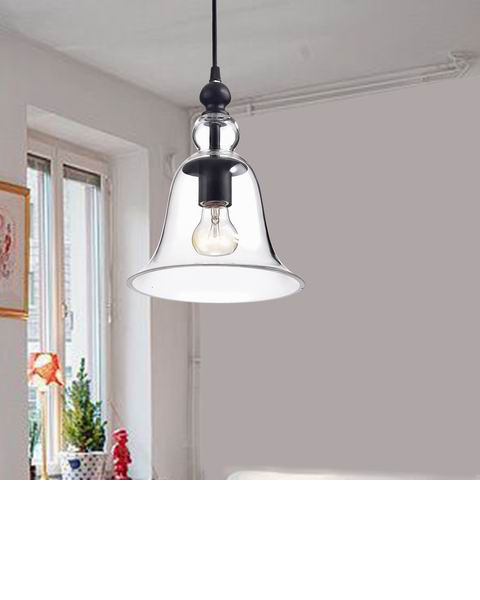 Yamila Antique Black Bell-shaped Glass Mini Pendant Light BX-2391-SMT