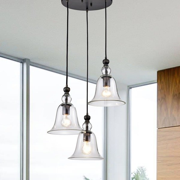 Yamila Bell-shaped Glass Antique Black 3-light Pendant Chandelier BX-7482-RCH