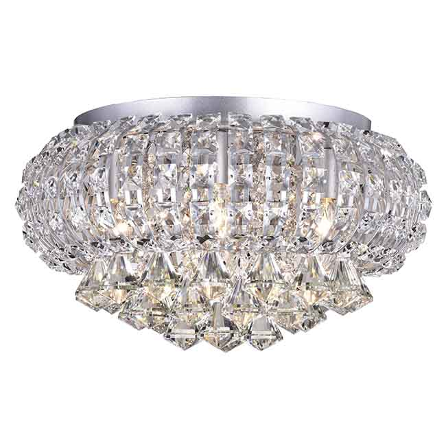Jolie Silver Finish Crystal Flush Mount Chandelier BX-9415-ZLL
