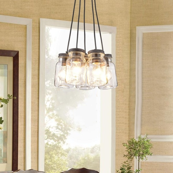 Belinda 5-Light Clear Glass Canning Jar Pendant Chandelier L415-UQ-677