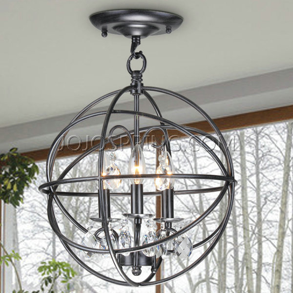 Benita 3-light Antique Black Metal Globe Crystal Flush Mount Chandelier