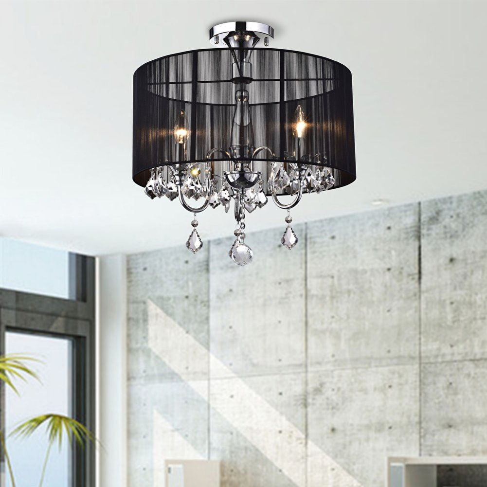 Black and Chrome Semi Flush Mount Crystal Chandelier - B381-BCL-