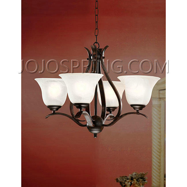 Bronze Ironwood 4-light Iron Chandelier - B201B