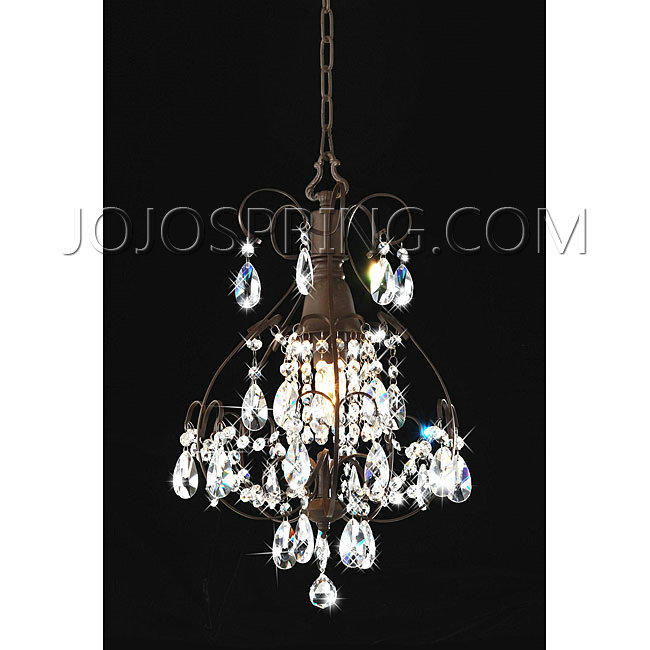 Brushed Oak 1-light Teardrop Crystal Chandelier - BCY-71KJ