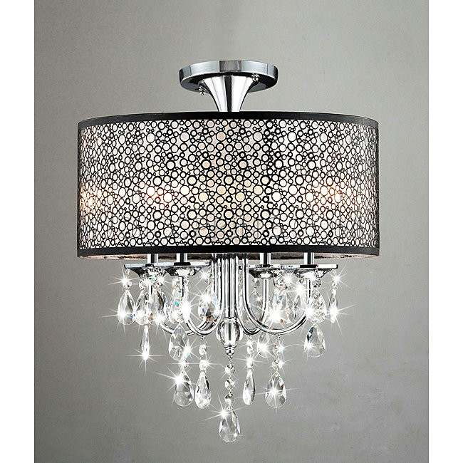 Bubble Shade Crystal and Chrome Flushmount Chandelier - B727-DW-