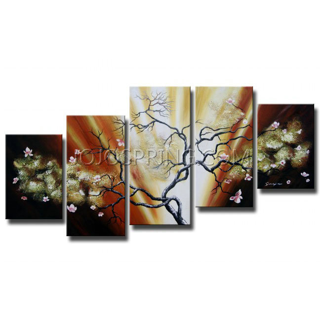 Butterfly Tree 5-piece Gallery-wrapped Hand Painted Canvas Art