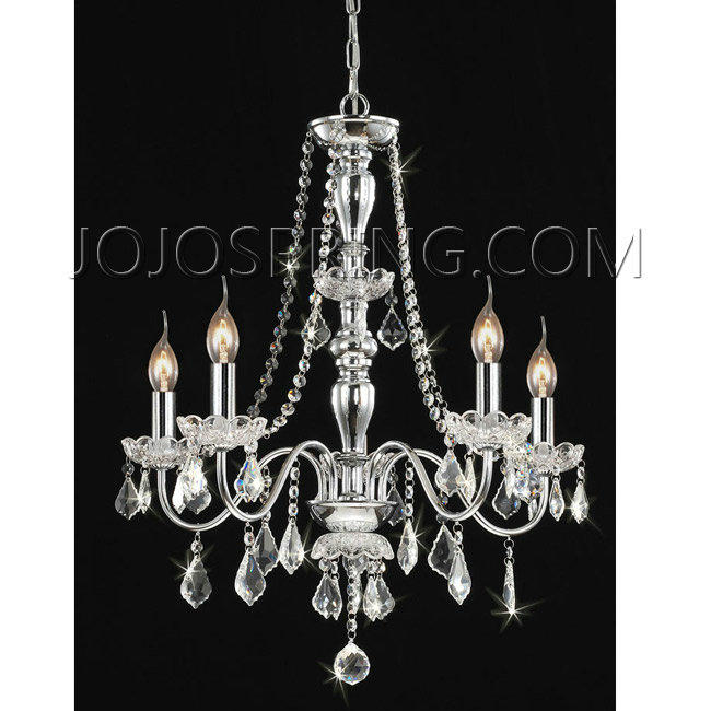 Chrome 5 Light Crystal Chandelier Bch 5c
